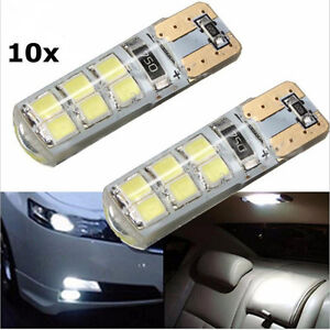 10x T10 W5W 12SMD 2835 LED Canbus Error Free Silica Light Bulb Xenon White 6000K