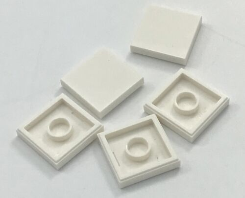 Lego Lot of 5 New White 2 x 2 Flat Smooth Tiles Pieces