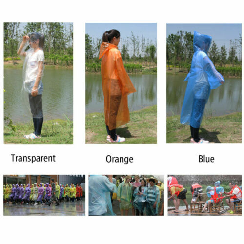 Unisex Men Women Waterproof Jacket PE Hooded Raincoat Rain Coat Poncho Rainwear