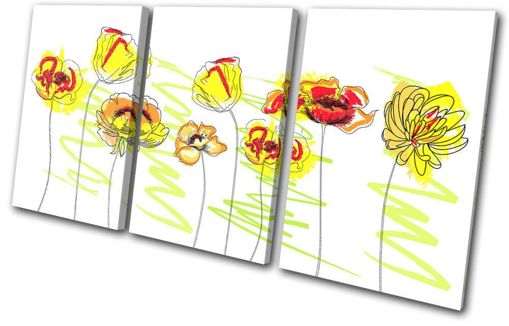 Abstract Floral Simple Sketch TREBLE TELA parete arte foto foto foto stampa d875f2