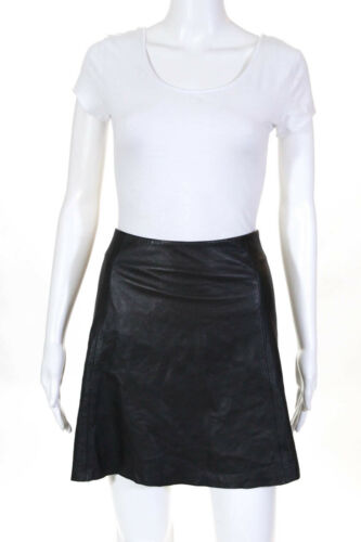VEDA Womens Leather Circle Skirt Black Size L 1262