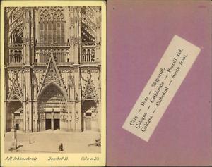 J.H Schönscheidt, Allemagne, Cathédrale de Cologne, portail sud Vintage CDV albu