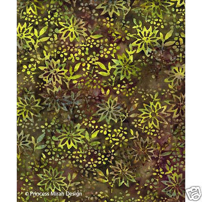 Princess Mirah Batik SR-17-9602 Pink /& Orange Leafy Fronds on Green /& Gold