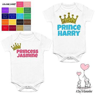 PERSONALISED PRINCESS//PRINCE PINK//BLUE BABY VEST//BODYSUIT /& BIB GIFT BOY//GIRL