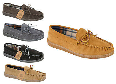 GroßZüGig Mens Slippers Jo & Joe Suede Moccasins Slippers Mens Leather Luxury Slipper Shoe