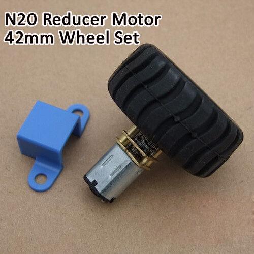 1Set DC3-12V N20 Gear Motor /& Mount Bracket /& 43mm Wheel Suit For Car Model DIY