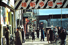 Vintage Korean War Kodak red border Kodachrome slide of street scene Seoul