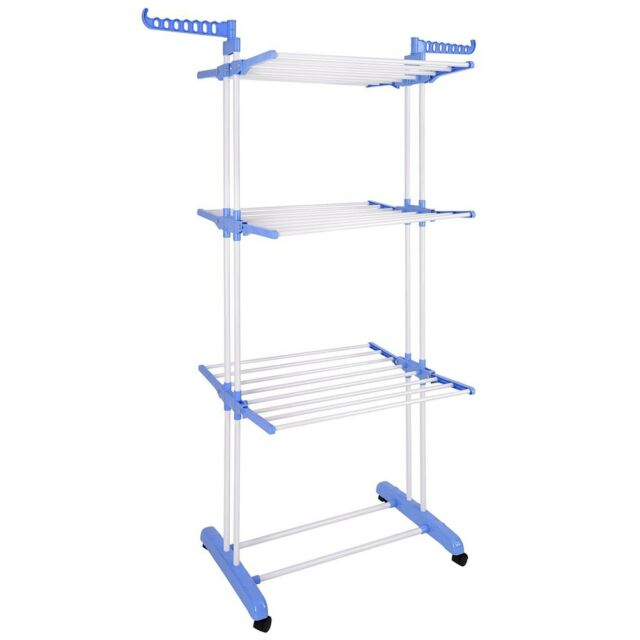 3 Tier Steel Clothes Drying Rack Foldable Laundry Dryer Hanger