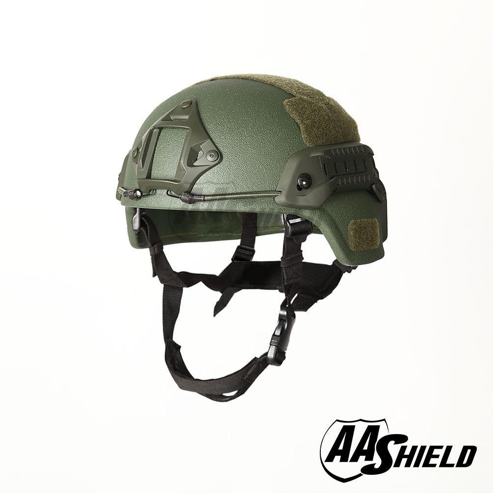 AA Shield Ballistic MICH Tactical Helmet Bulletproof Aramid Safety IIIA OD Green