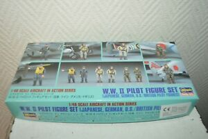 MAQUETTE-HASEGAWA-WWII-PILOT-FIGURE-SET-JAPON-US-GERMAN-BRITISH-1-48-KIT-NEUF