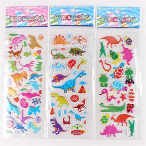 5 Sheets Cute Dinosaur Bubble PVC Stickers Cartoon Kids Classic Toys StickeMA6K