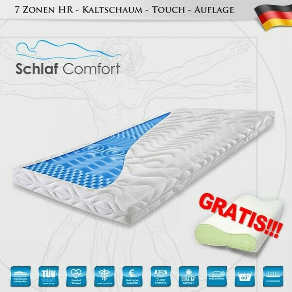 Mattress Foam 7 Zones Touch Topper 160x200x7cm +2 Pillow Free