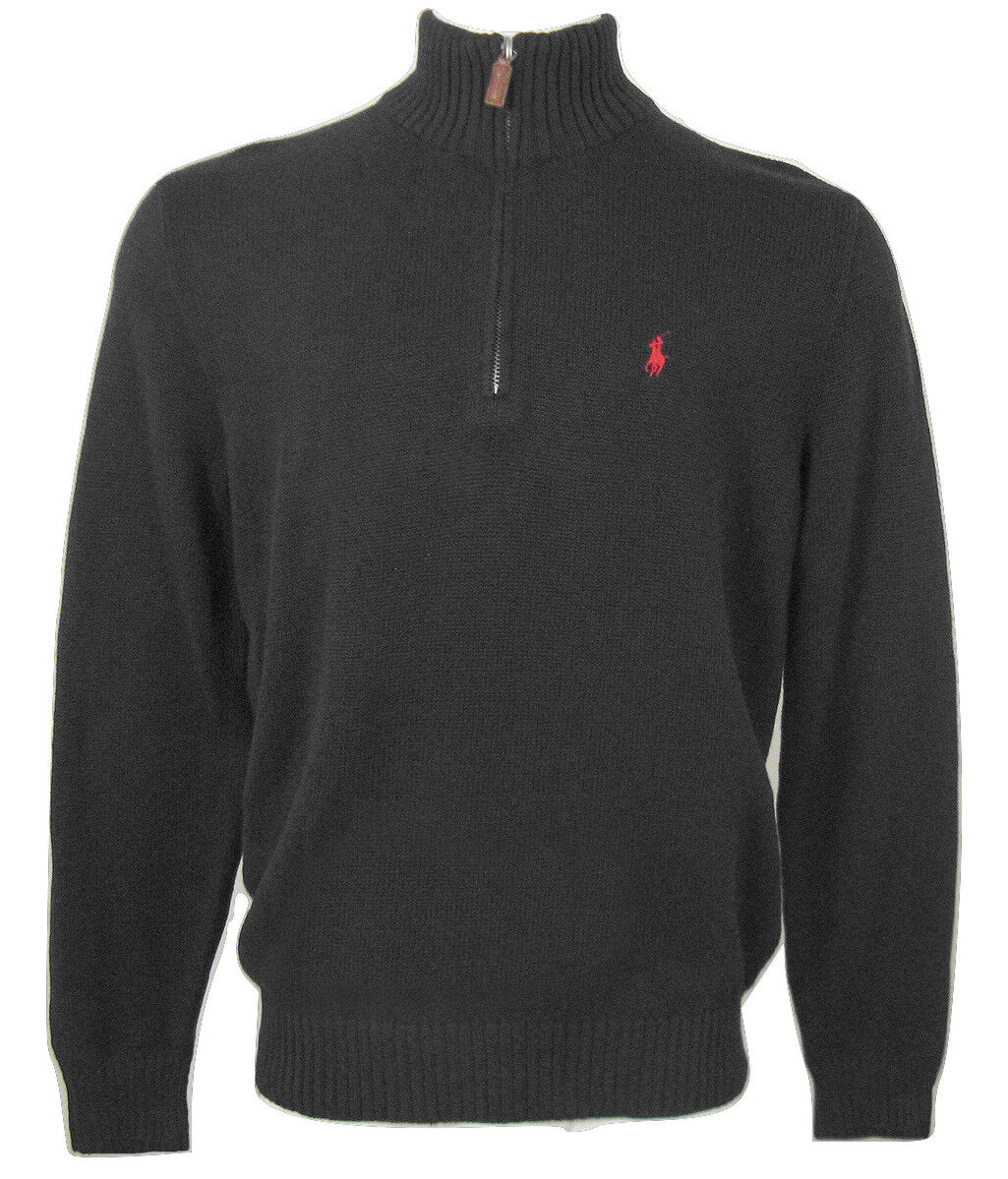 NEW  Polo Ralph Lauren Classic Mens 1 2 Zip Sweater   Leather Pull  9 colors