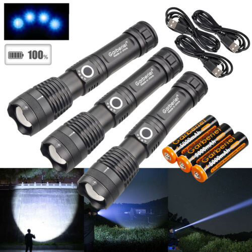3x 990000LMS Zoomable XHP50 5 Modes LED USB Rechargeable 18650 Flashlight Torch