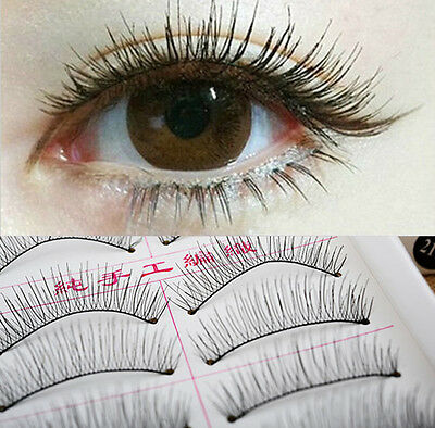 10 Pairs Makeup Cosmetic Handmade Natural Cross False Eyelashes Long Eye Lashes