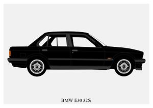 BMW E30 3-Series - A4 A3 A2 POSTER Car Silhouette Saloon