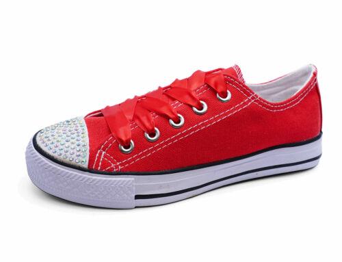 GIRLS KIDS CHILDRENS RED CANVAS DIAMANTE LACE-UP PLIMSOLL PUMPS SHOES SIZES 11-3