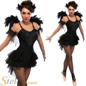 Ladies-Black-Swan-Ballerina-Gothic-Fancy-Dress-Costume-Halloween-Outfit