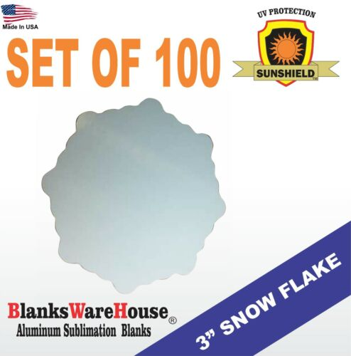 """DOUBLE SIDED 3/"""" SNOWFLAKE Lot of 100 MAGNET SUBLIMATION BLANK"""