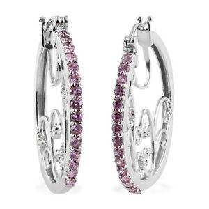 Women's Round Cubic Zircon Pink Fashion Tree of Life Hoops, Hoop Earrings Gift