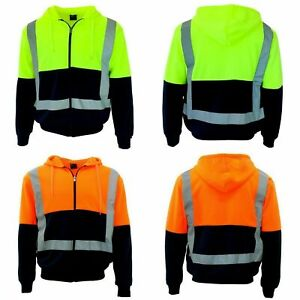 HI-VIS-Hoodie-Jacket-w-Reflective-Tape-Fleece-lined-Zip-Jumper-Safety-Workwear