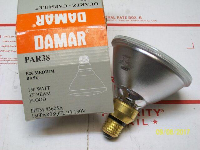 LOT OF 3 DAMAR FLOOD LAMP BULB 150W 150 WATT PAR38 E26 MED BASE , 3605A