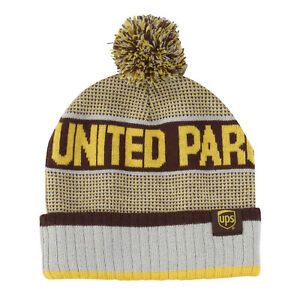 eb677f061 Details about UNITED PARCEL SERVICE Brown & Gold UPS Striped Cuff Pom-Pom  Beanie Cap Hat New