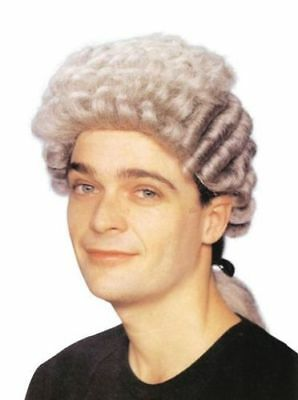 Pratico Avvocato Court Grigio Pigtail Uomo Parrucca Costume Adulti Teatrale Capelli