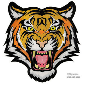 LARGE SIZE BENGAL TIGER iron-on PATCH embroidered WILD ANIMAL SOUVENIR APPLIQUE