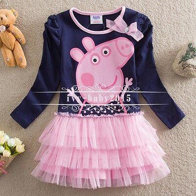 Kids Girls Peppa Pig Long Sleeve Dress T-shirt Top Outfits Toddler 2T-6 Clothing