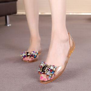14f747927 Image is loading Summer-Women-Color-Rhinestone-Flat-Heel-Jelly-Sandals-