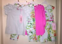 Baker By Ted Baker Girls' 4-pc Set:t-shirt Mint/top Pink/floral Pant+dress 3y