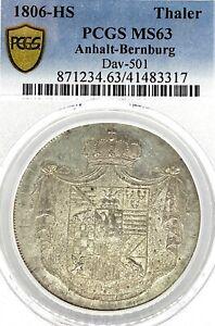 German States Anhalt-Bernburg 1806 Taler Coin Thaler PCGS MS63 F.STG/stg UNC TOP