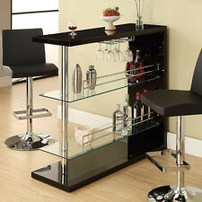 Modern Pub Home Bar Table Unit W/ Glass Shelves Wine Rack Chrome Pole Black