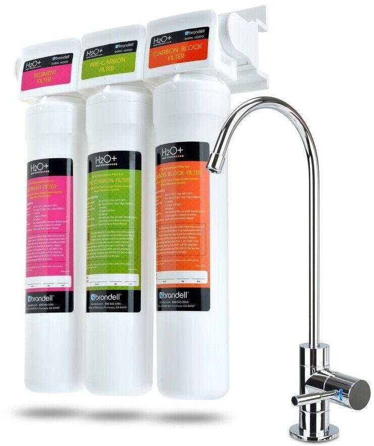 3-Stade sous compteur eau Système de filtration avec robinet et DEL Filtre Indicateur