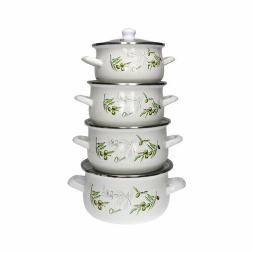8 Pc Enamel Cookware Set Casserole Pots Lid Soup Stockpot White Pan Green Olive
