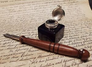 Antique-Style-Glass-Square-Cobalt-Blue-Inkwell-Ink-Pot-with-Dip-Calligraphy-Pen