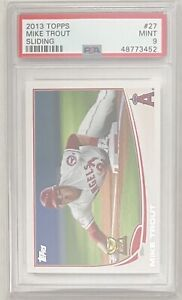2013-Topps-27-Mike-Trout-Los-Angeles-Angels-PSA-Graded-MINT-9-Sliding