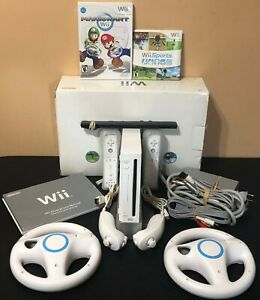 Nintendo-Wii-Console-Mario-Kart-Bundle-Wii-Sports-2-Controllers-2-Wheels-In-Box