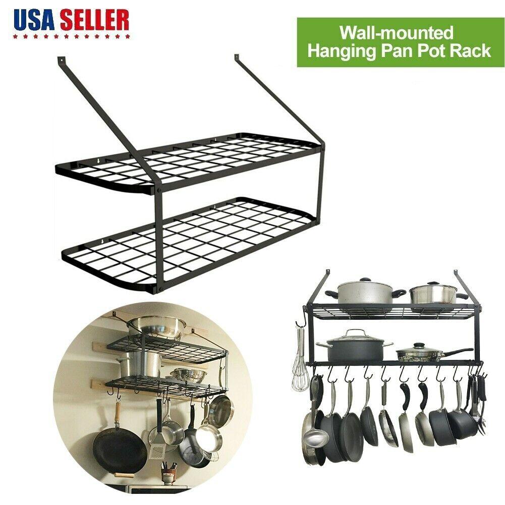 Black Hanging Victorian Wrought Iron Kitchen Island Rack Utensils Pot Pan Holder