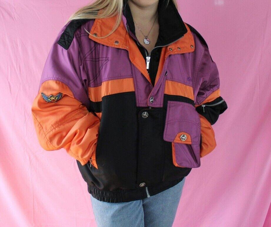 Vintage 80's Asics Ski Jacket Medium lila Orange
