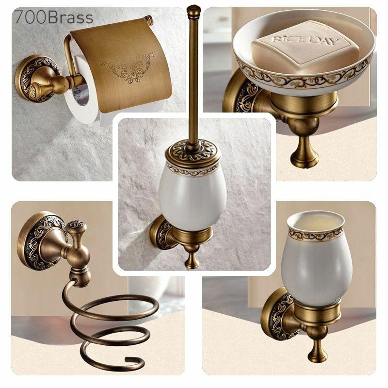 Bathroom Towel Paper Holder Set Metal Hardware Brushed Accessories Antique Style