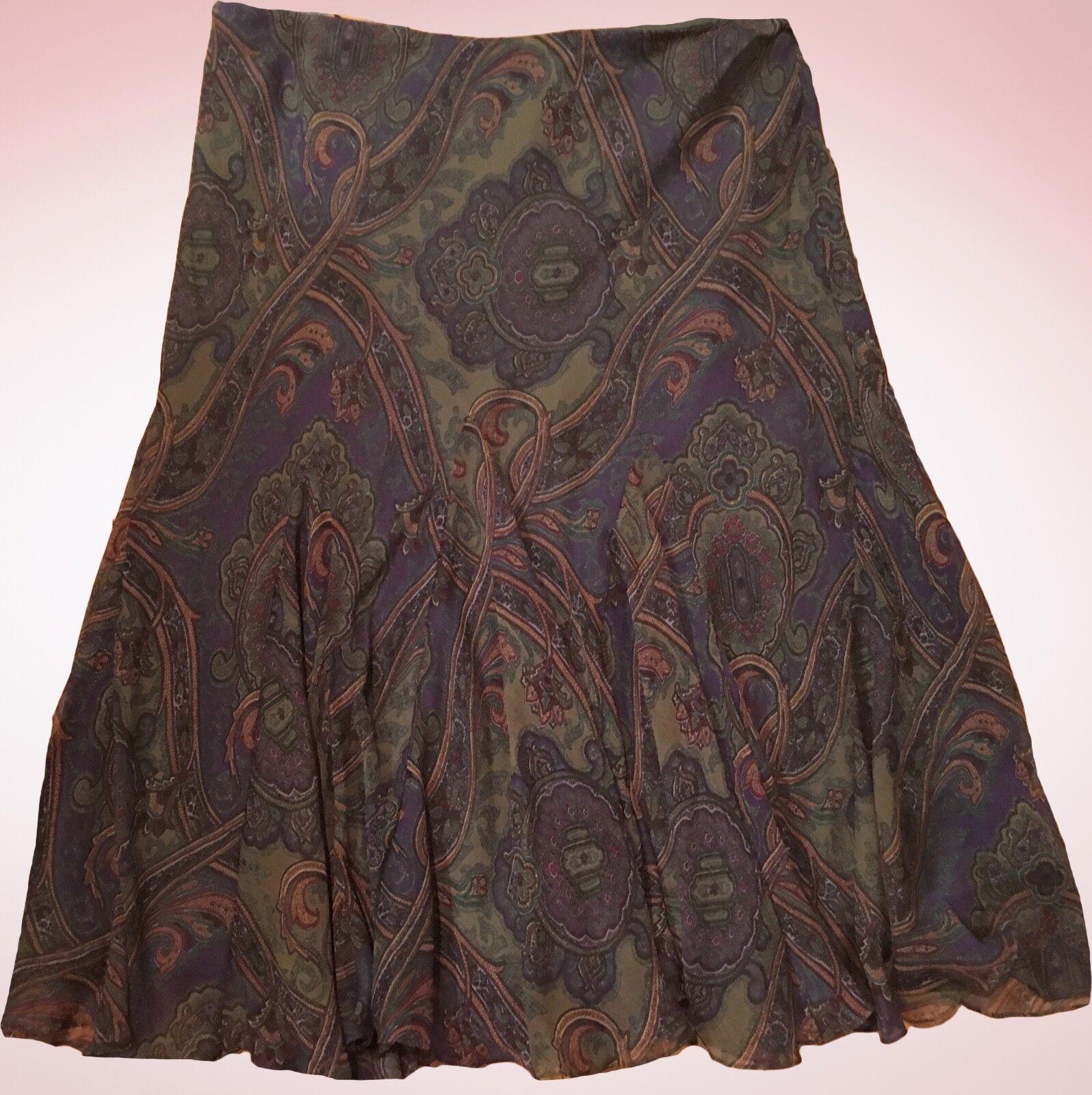 159 Ralph Lauren Silk Multi Olive Green Paisley Godet Skirt