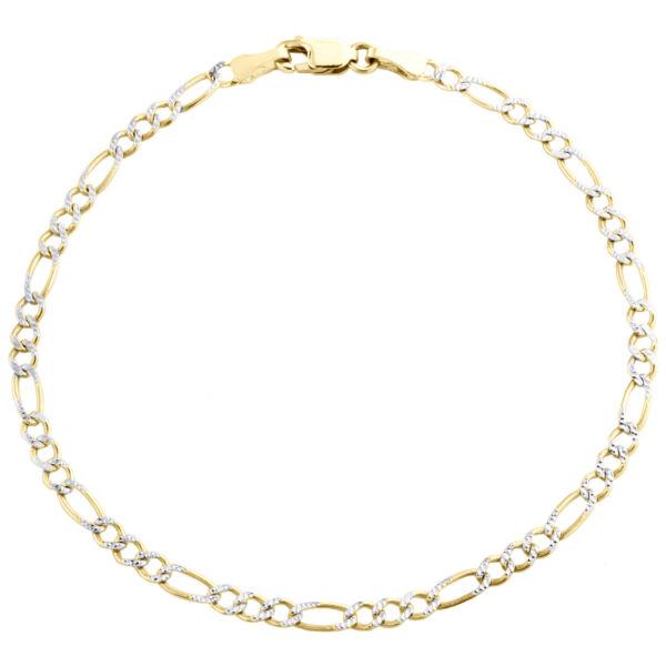 10k Gelbgold 2.60mm Diamant Schnitt Solide Figaro Link Armband/fußkettchen Rohstoffe Sind Ohne EinschräNkung VerfüGbar
