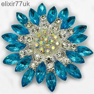 NEW LARGE SILVER FLOWER BROOCH BLUE / TURQUOISE DIAMANTE CRYSTAL PIN BROACH GIFT