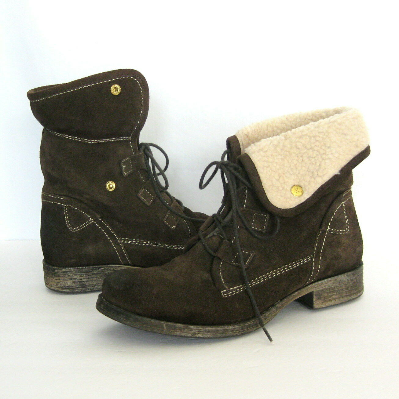 Diba True 10 Ankle Boots Jay Neen Brown Distressed Suede Fold Over Shearling 10