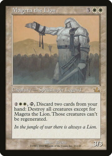 Mageta the Lion Prophecy HEAVILY PLD White Rare MAGIC GATHERING CARD ABUGames