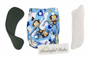 dca4bcdf2 Image is loading Deluxe-Newborn-Bamboo-Cloth-Nappy-Monkey-2-Boosters-