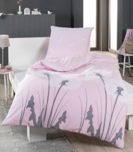 Bettwasche Baumwoll Satin Pusteblume Rosa Weiss Grau 135x200cm Ebay