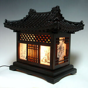 Wooden Art Shade Lantern Bedside Home Deco Oriental Asian